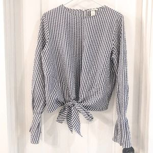 H&M Striped Tie Front Long Sleeve Blouse